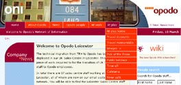 Opodo intranet website screenshot
